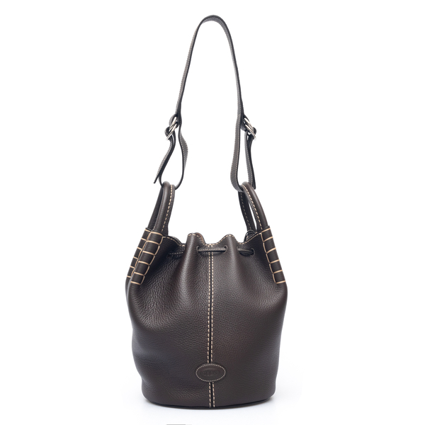 Brown bucket bag with pouch                                                                                                                           Tods XBWAOZK0300 back