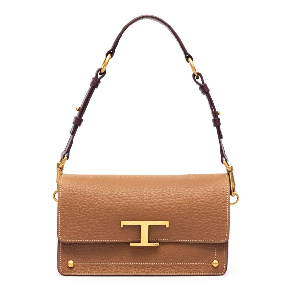 Brown shoulder bag with T logo                                                                                                                        Tods XBWTSSN0100 front