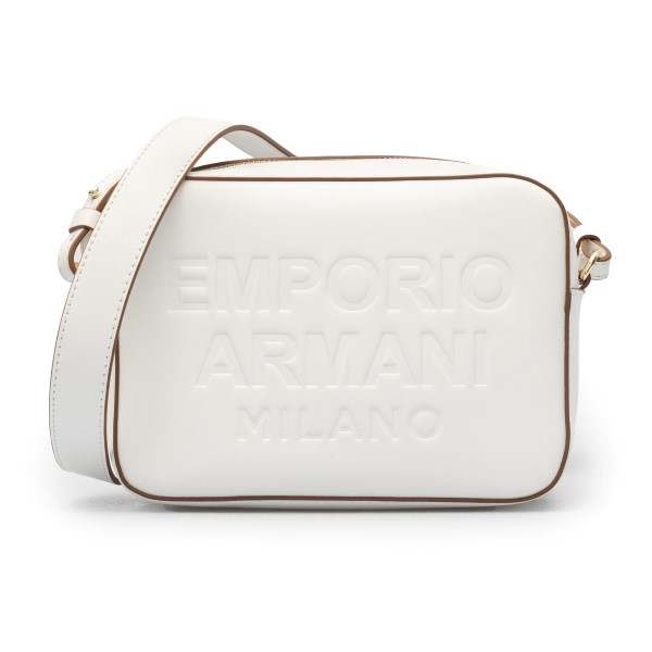 White shoulder bag with brown details                                                                                                                 Emporio Armani Y3B162 back