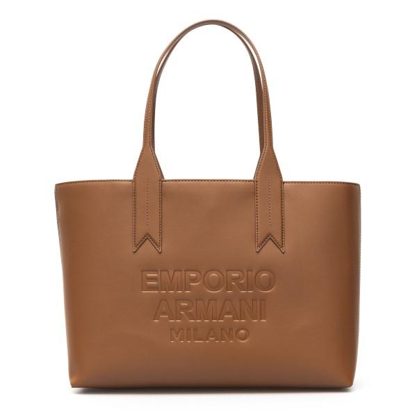 Brown tote bag with logo                                                                                                                              Emporio Armani Y3D081 back