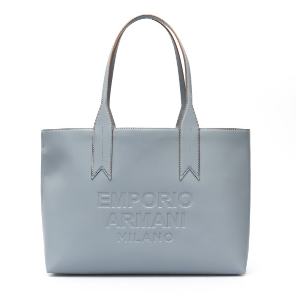 Light blue tote bag with embossed logo                                                                                                                Emporio Armani Y3D081 back