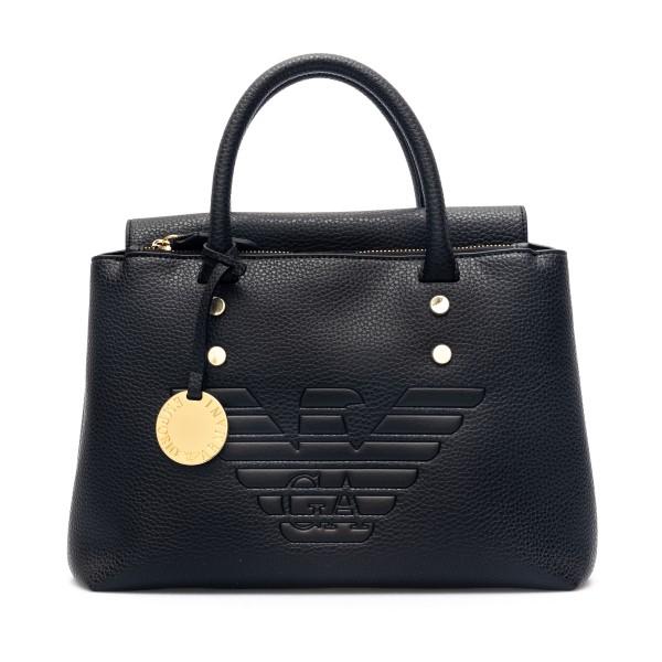Black handbag with embossed logo                                                                                                                      Emporio Armani Y3D144 back