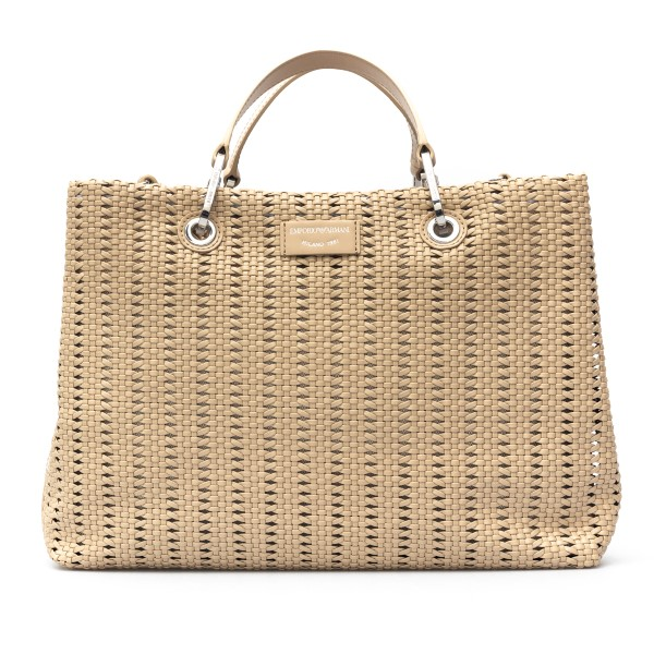Large beige woven tote bag                                                                                                                            Emporio Armani Y3D165 back