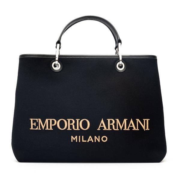 Black shoulder bag with embroidery                                                                                                                    Emporio Armani Y3D165 back