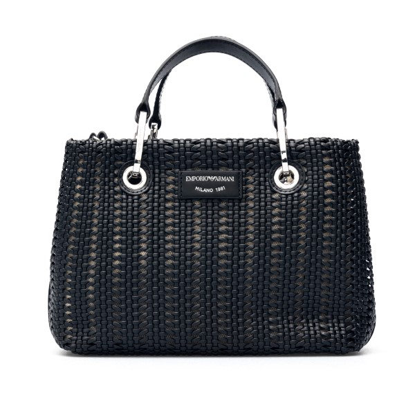 Black woven tote bag                                                                                                                                  Emporio Armani Y3D166 back