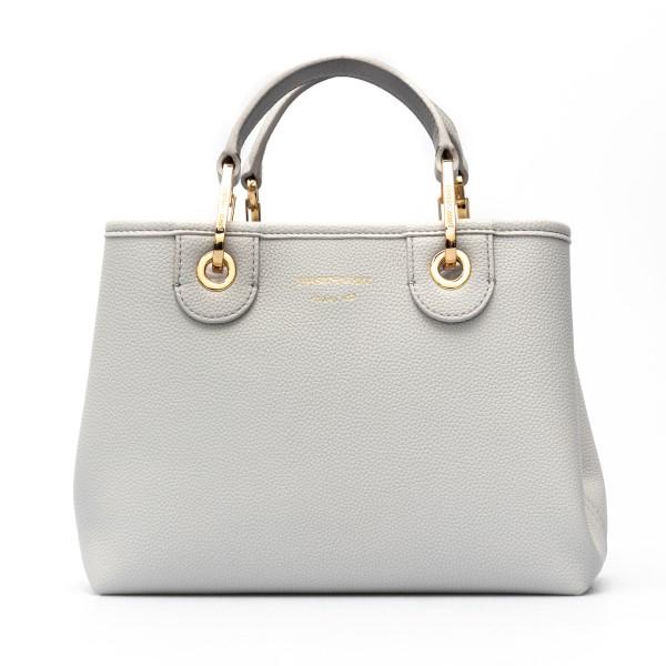 Grey tote bag with logoed shoulder strap                                                                                                              Emporio Armani Y3D166 back