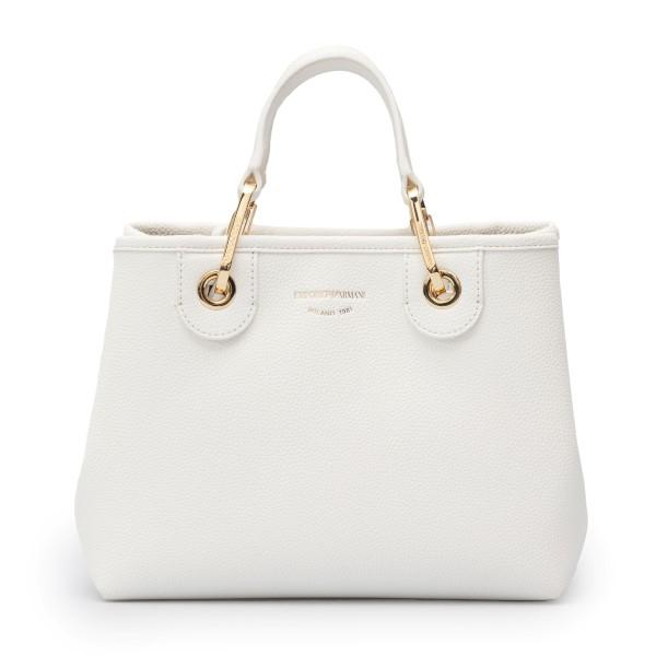 White tote bag with logoed shoulder strap                                                                                                             Emporio Armani Y3D166 back