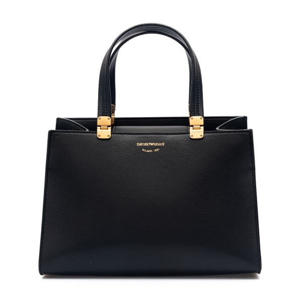 Black tote bag with gold logo                                                                                                                         Emporio Armani Y3D198 back