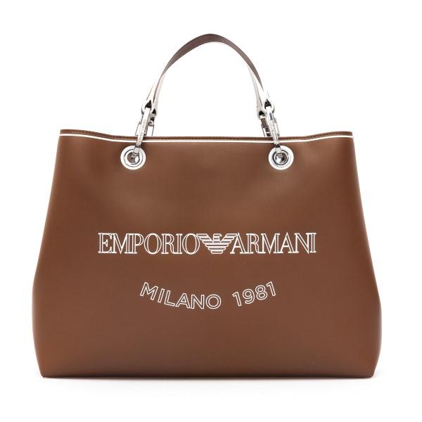 Borsa tote grande marrone con logo                                                                                                                    Emporio Armani Y3D202 retro