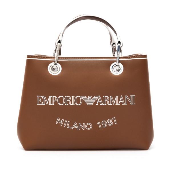 Borsa tote piccola marrone con logo                                                                                                                   Emporio Armani Y3D203 retro