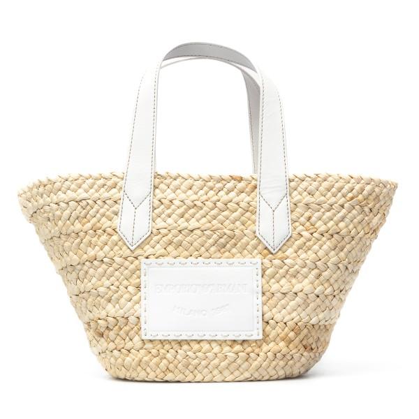 Bag in raffia and white leather                                                                                                                       Emporio Armani Y3D210 back