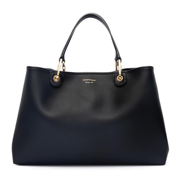 Black tote bag with brand name print                                                                                                                  Emporio Armani Y3D219 back