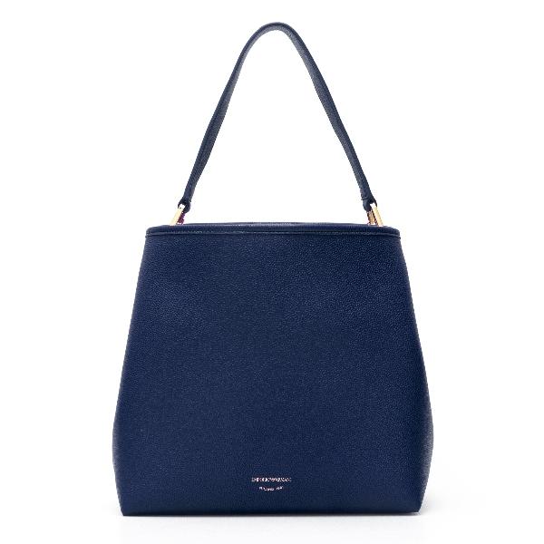 Blue knurled shoulder bag                                                                                                                             Emporio Armani Y3E168 back