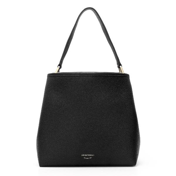 Black knurled shoulder bag                                                                                                                            Emporio Armani Y3E168 back
