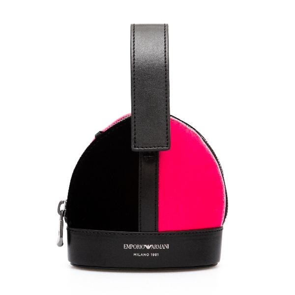 Two-tone mini bag in velvet                                                                                                                           Emporio Armani Y3E202 back