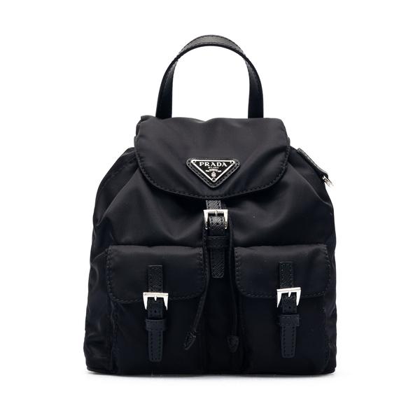Black mini backpack with shoulder strap                                                                                                               Prada 1BH029 back