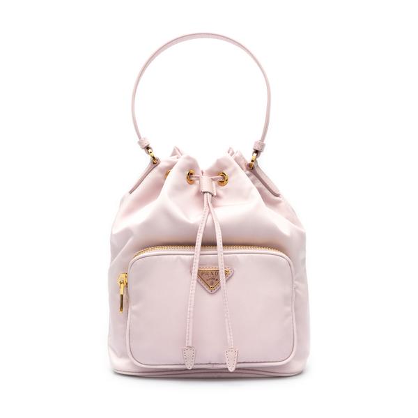 Pink bucket bag with logo                                                                                                                             Prada 1BH038 back