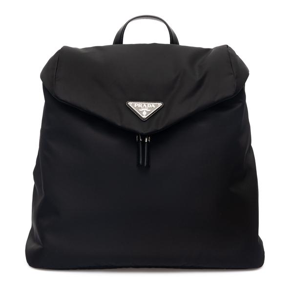 Zaino nero con placca logo                                                                                                                            Prada 2VZ089 retro