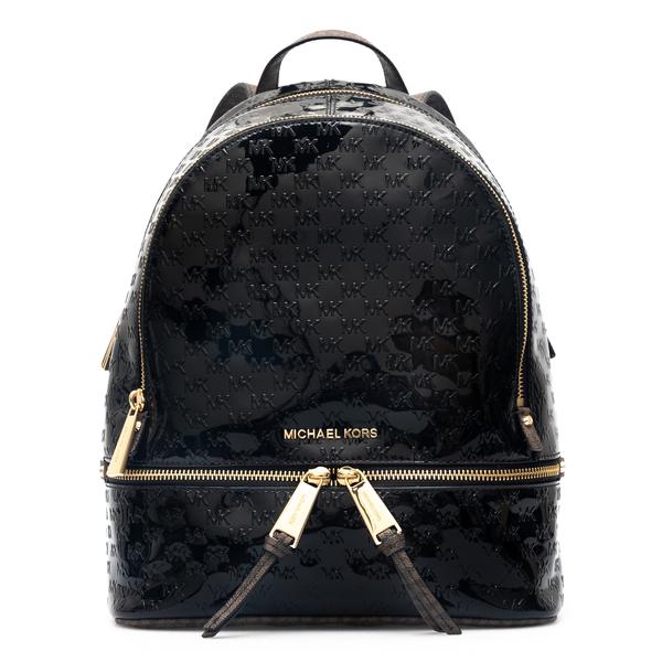 Shiny black backpack with logo pattern                                                                                                                Michael Kors 30F1GEZB2A back