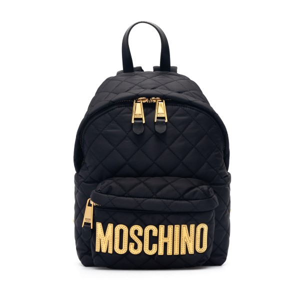 Black quilted backpack with gold logo                                                                                                                 Moschino 7608 front