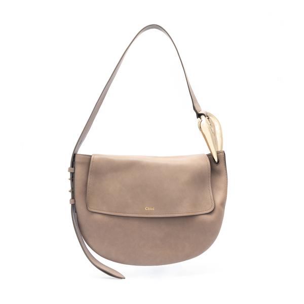 Beige shoulder bag with metallic details                                                                                                              Chloe' CHC21US352 back