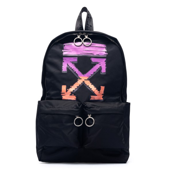 Black backpack with Arrows print                                                                                                                      Off White OMNB003R21FAB002 back