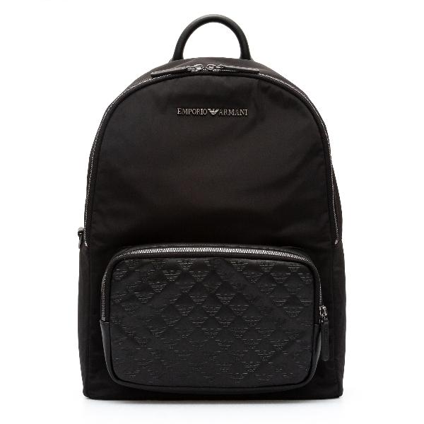 Zaino nero con pattern logo                                                                                                                           Emporio Armani Y4O315 retro