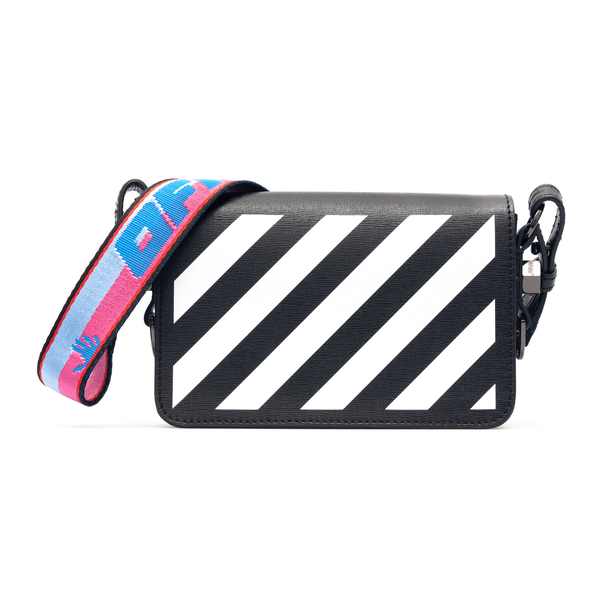 Black shoulder bag with white stripes                                                                                                                 Off White OWNN018S21LEA001 front