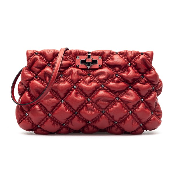 Red quilted clutch with studs                                                                                                                         Valentino garavani VW2B0I22 front