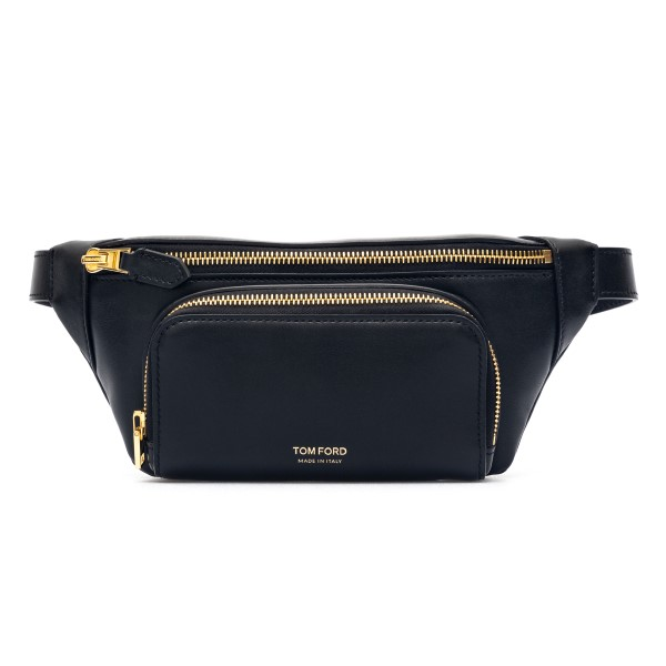 Black belt bag with gold logo print                                                                                                                   Tom ford H0453T front