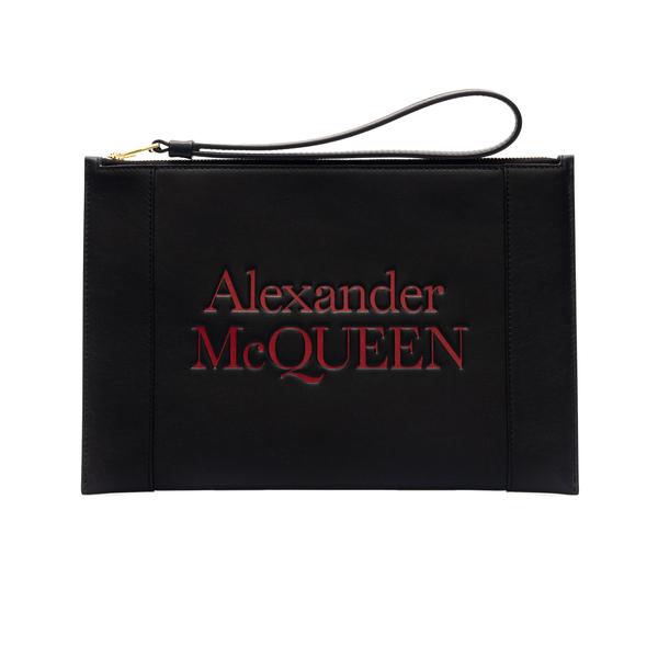 Pouch nera con logo rosso                                                                                                                             Alexander Mcqueen 633063 retro