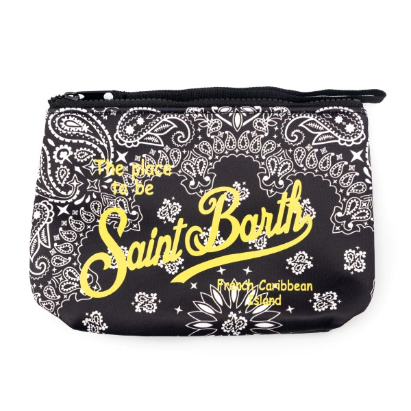 Pouch nera con stampa paisley                                                                                                                         Saint Barth ALINE front