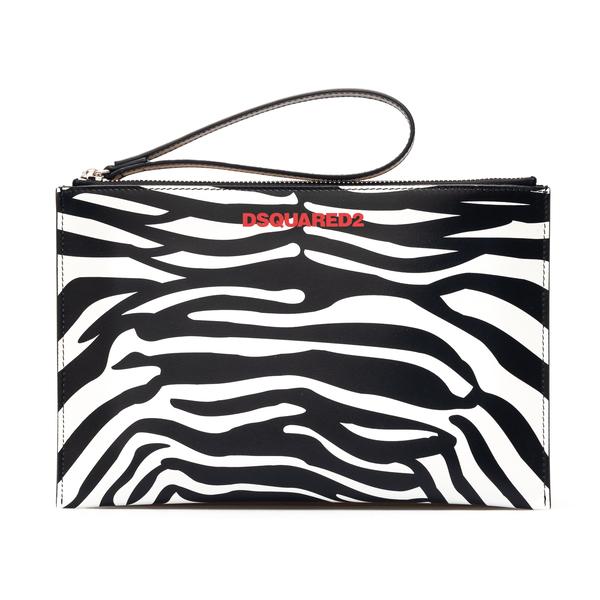 Zebra sachet clutch with logo                                                                                                                         Dsquared2 POW0014 back