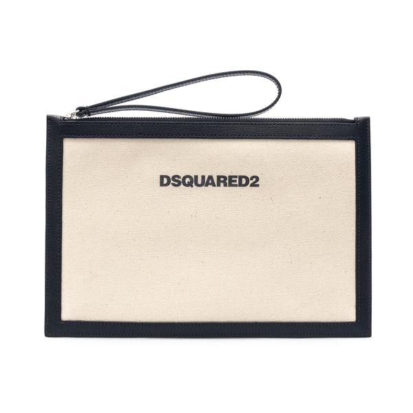 Clutch a bustina bianca con stampa logo                                                                                                               Dsquared2 POW0028 retro
