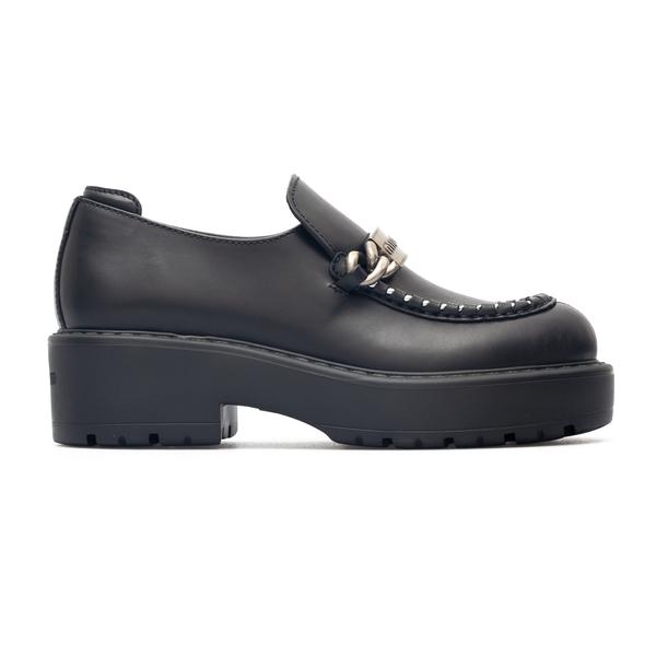 Black loafers with metal plate                                                                                                                        Miu Miu 5D648D back