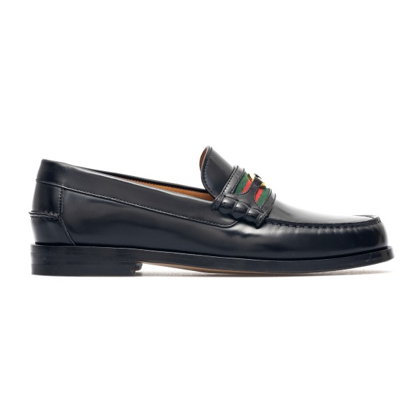Shiny black loafers with golden logo                                                                                                                  Gucci 644724 back