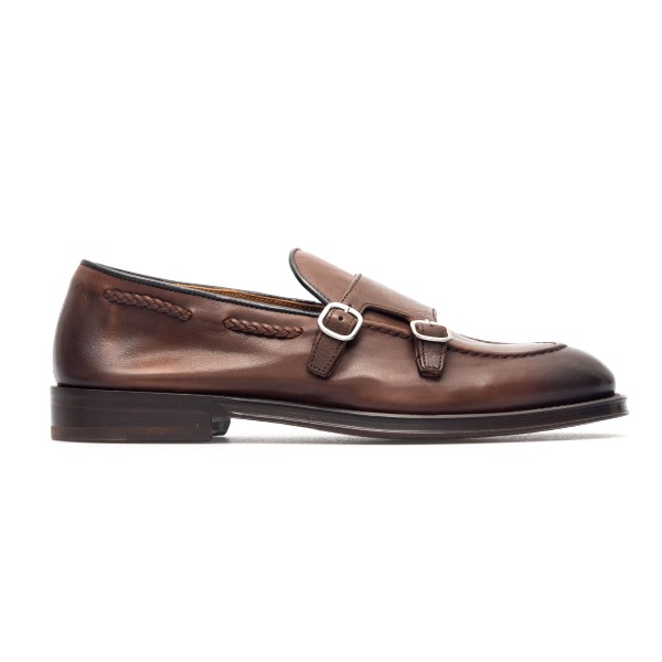 Brown leather loafers with buckles                                                                                                                    Doucal's DU2617 back