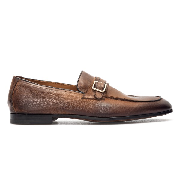 Brown leather loafers with buckle                                                                                                                     Doucal's DU2867 back