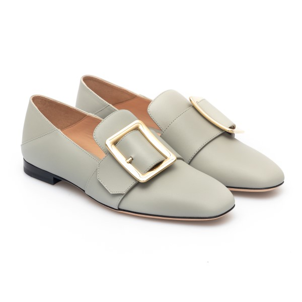 Light blue loafers with gold buckle                                                                                                                    BALLY
