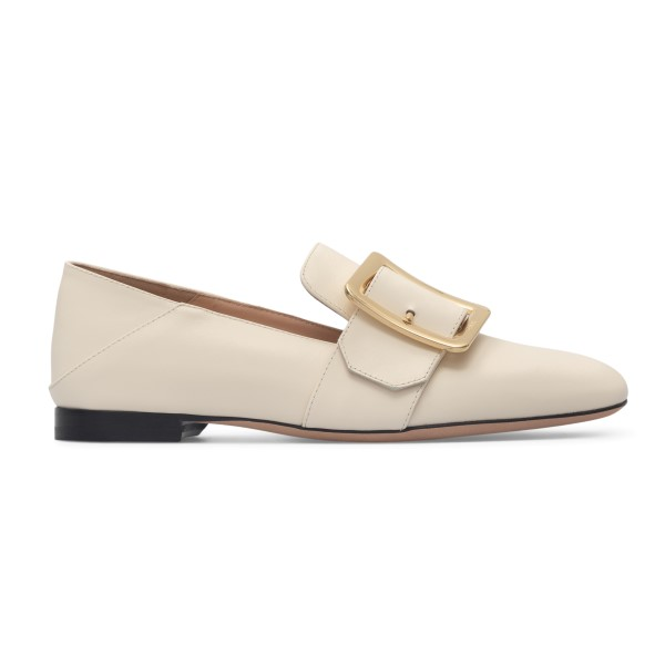 Ivory leather loafers with gold buckle                                                                                                                Bally JANELLE back