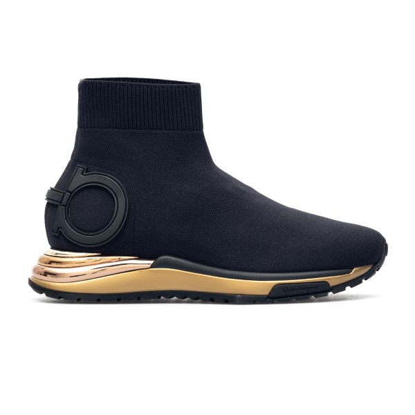 Black sock sneakers with logo                                                                                                                         Salvatore Ferragamo 0702615 back