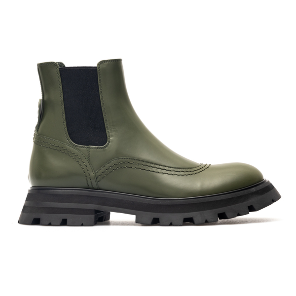 Green ankle boots with logo on the back                                                                                                               Alexander Mcqueen 666367 back