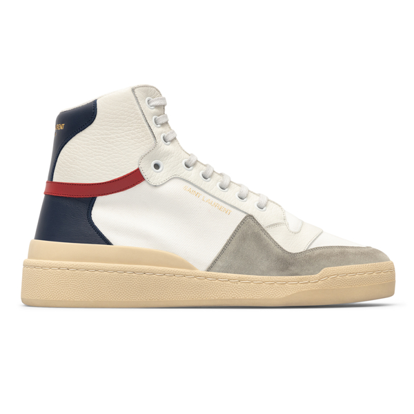 White sneakers with blue heel and logo                                                                                                                Saint Laurent 669430 back