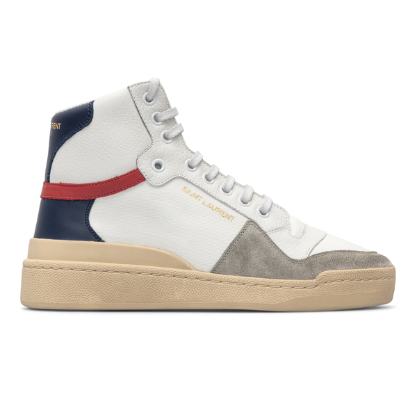 Sneakers alte bianche con retro blu                                                                                                                   Saint Laurent 669434 back