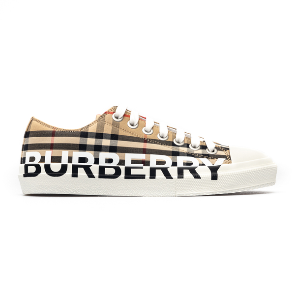 Beige checked sneakers with brand name                                                                                                                Burberry 8024149 back