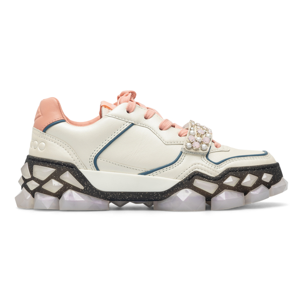 Beige and pink sneakers with rhinestones                                                                                                              Jimmy Choo DIAMONDXSTRAPF back
