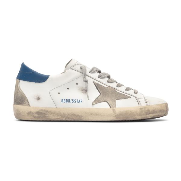 Sneakers bianche con tallone blu                                                                                                                      Golden Goose GMF00102 retro