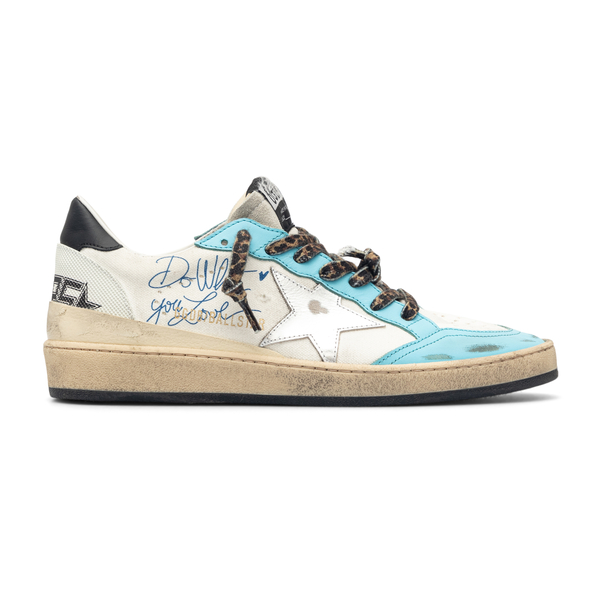 White and blue sneakers with signature                                                                                                                Golden Goose GMF00117 back