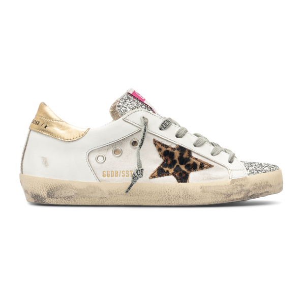 White sneakers with glitter panel                                                                                                                     Golden Goose GWF00103 back