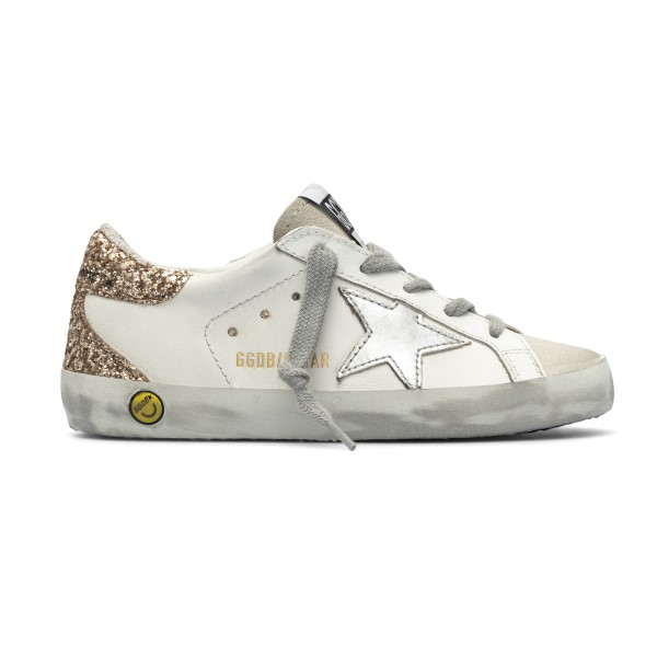 Sneakers bianche con tallone in glitter                                                                                                               Golden Goose GYF00102 fronte